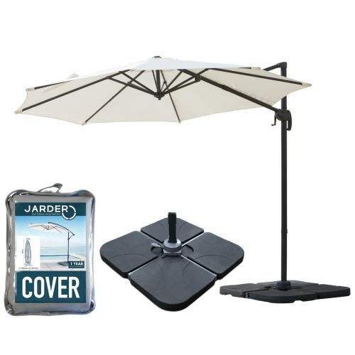 Milan 3m Garden Parasol + Base + Cover Package