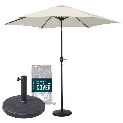 Oasis 2.7m Garden Parasol + Base + Cover Package